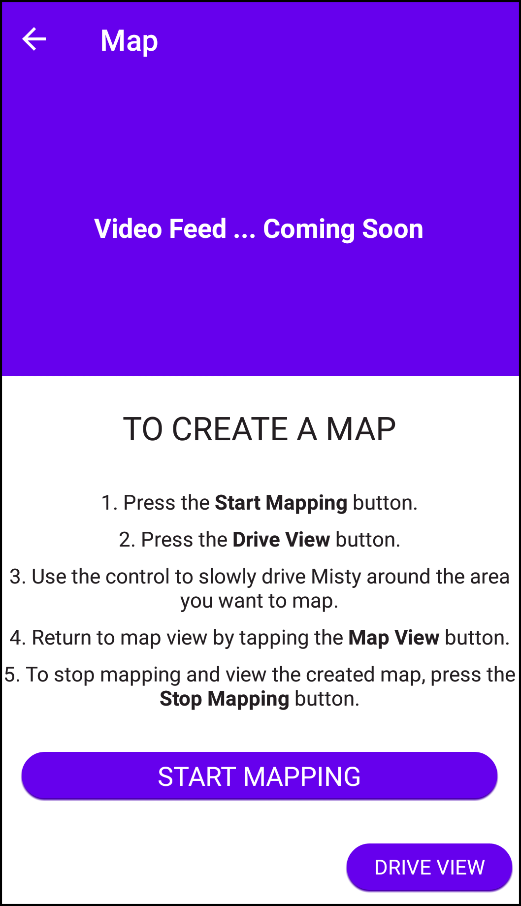 Companion App mapping instructions screen