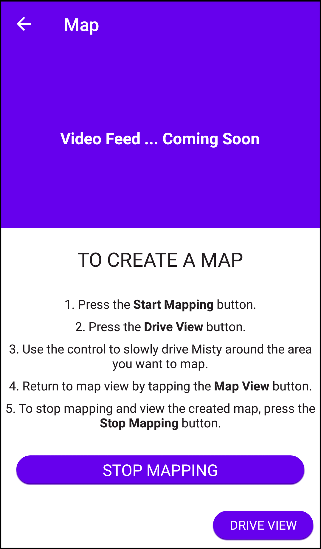 Companion App stop mapping button